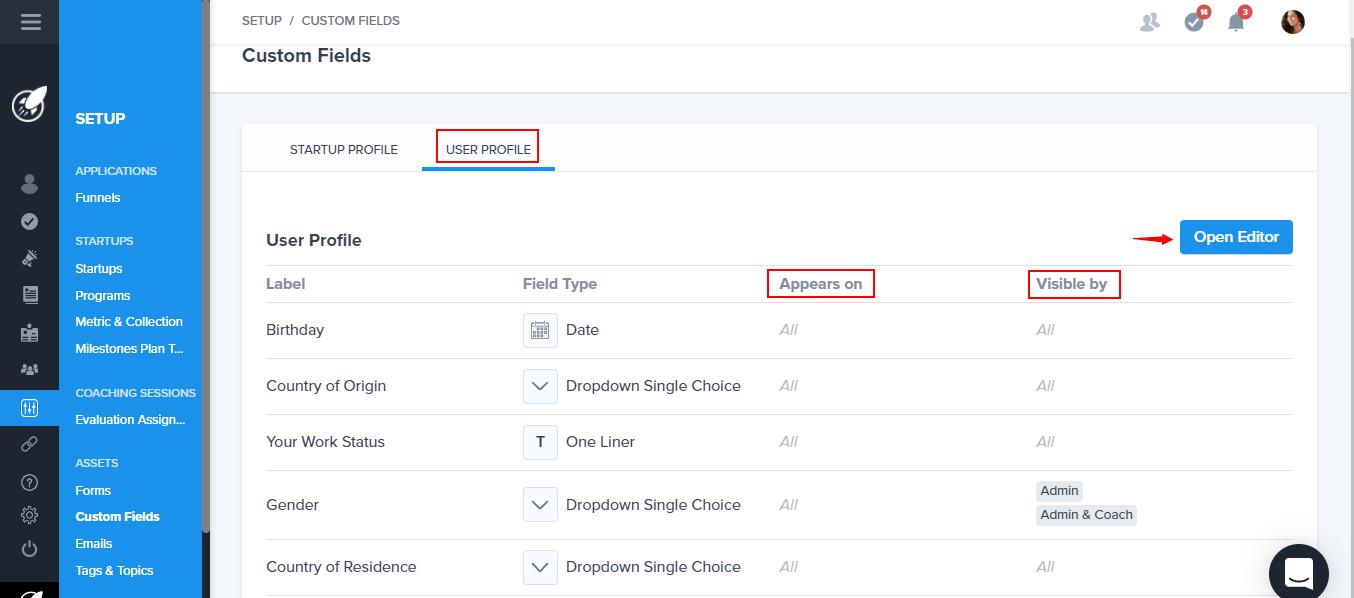 Custom fields profile
