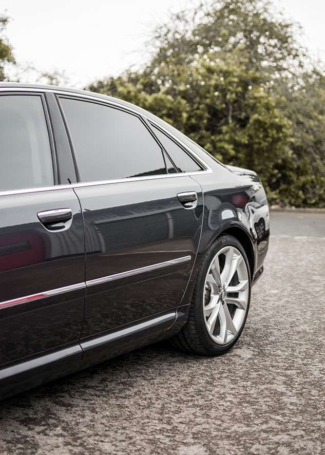 Audi s8 car after window tinting from side