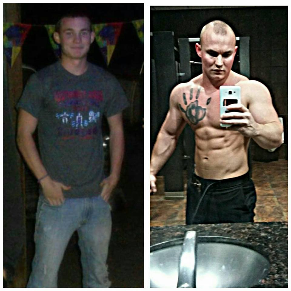 Facebook post showing Pendley on the left in jeans and a t-shirt before he began his muscle training, much skinnier than he is on the right, almost naked and with much more defined muscles.