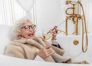 Birthday Card Woman w/Wine In Bathtub