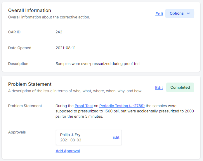 Corrective action details screenshot