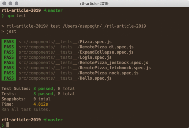 Running Jest and React Testing Library tests in the terminal
