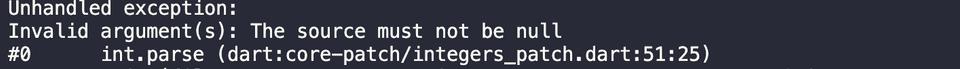 dart integer parsing exception