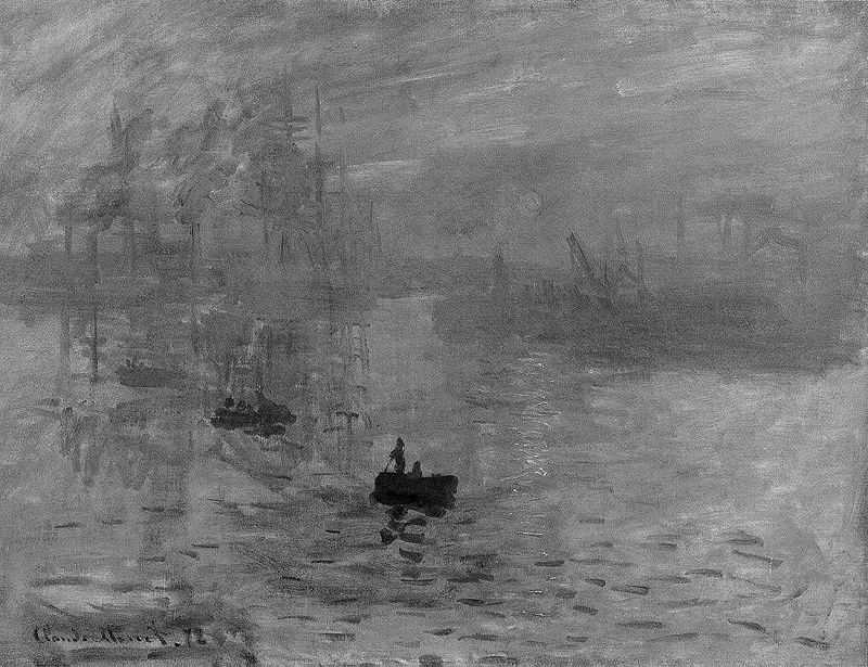 A digitally changed black and white version of Impression, Sunrise by Claude Monet, 1872, 1985: stolen