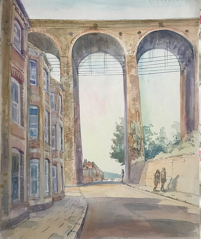 watercolour painting of view down a street that passes below Folkestone brick viaduct