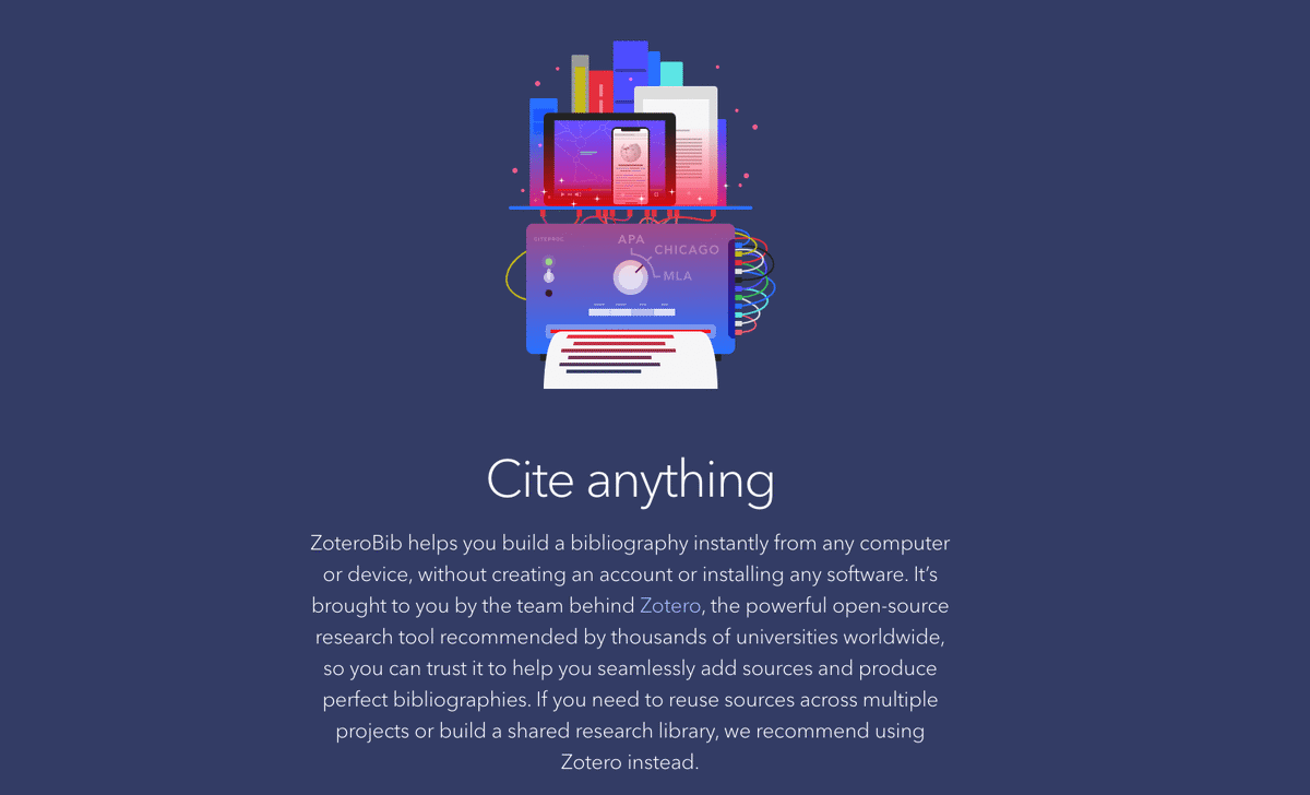 Collection of books and mobile devices on blue background with a white header 'Cite anything'.