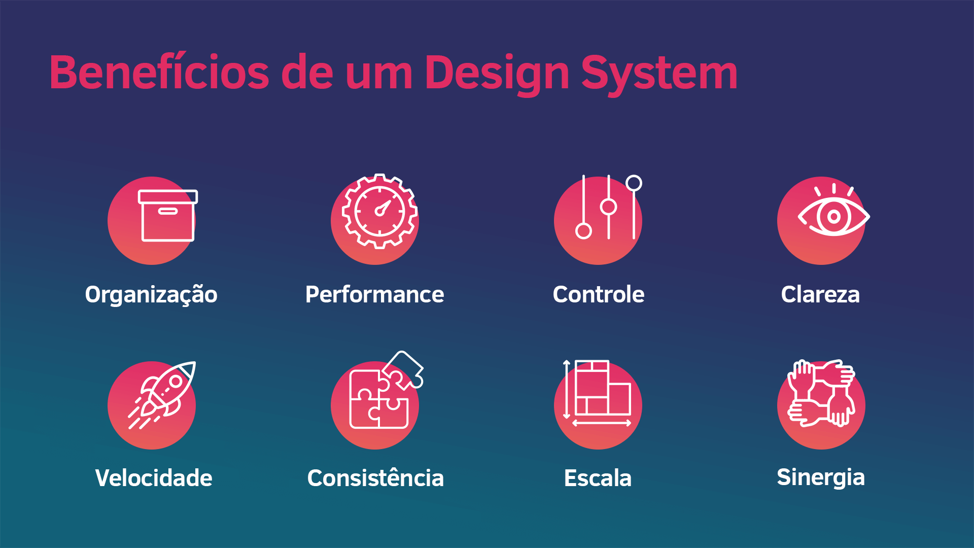 Slide da apresentação: Benfícios de um design system