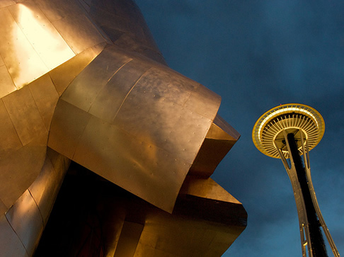 The Space Needle with the Experience Music Project in the foreground