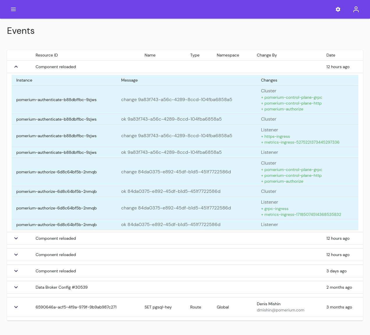 The Events page in Pomerium Enterprise