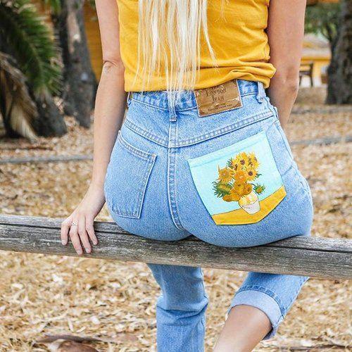 Poche de jean peinte à la peinture textile