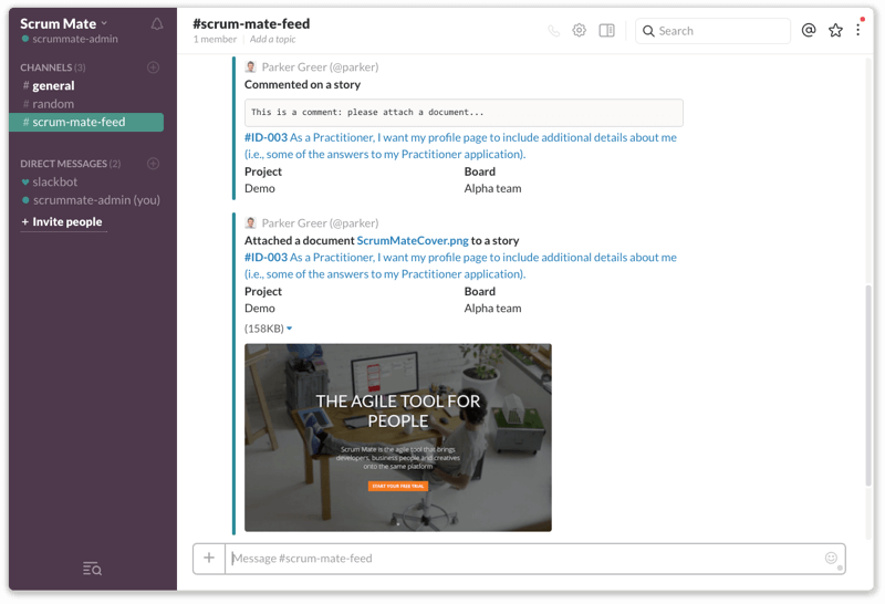Scrum Mate notifications in Slack