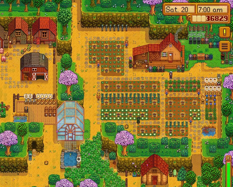 My thriving farm with lots of buildings and crops.