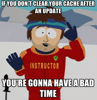 If you don't clear your cache after an update - YOU GONNA HAVE A BAD TIME
