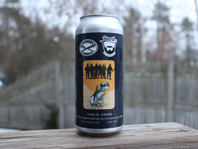 Dogs Vs. Shinobi, a New England IPA brewed by Beer'd Brewing Company