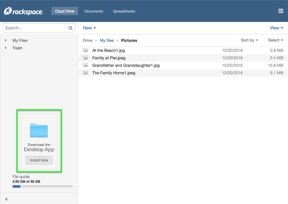 Cloud Drive for Desktop download link in webmail