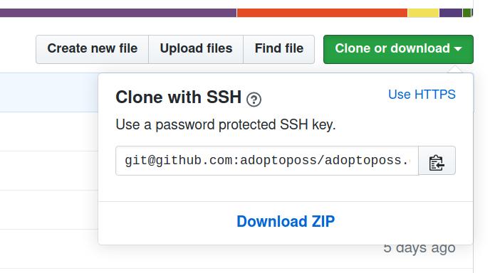 GitHub clone button dropdown