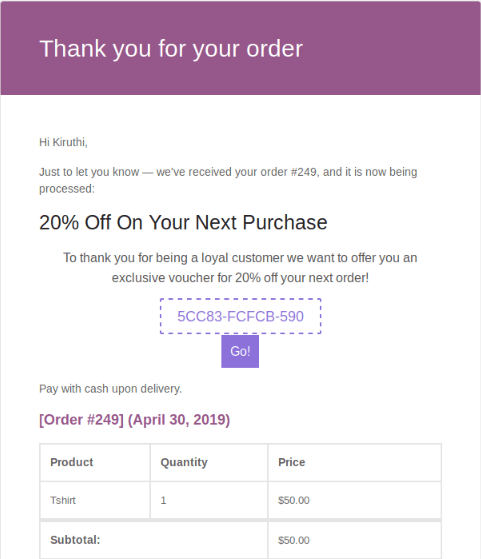 Next order coupon mail