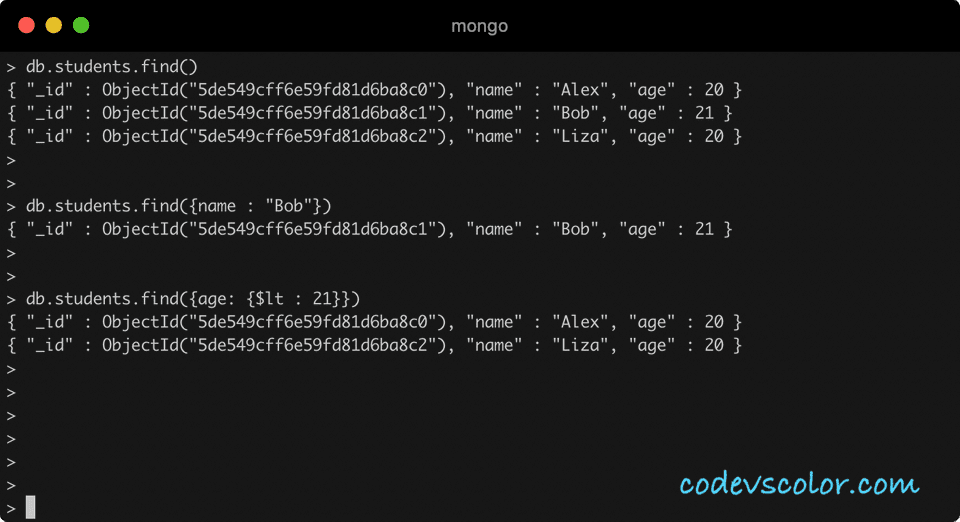 MongoDB find example