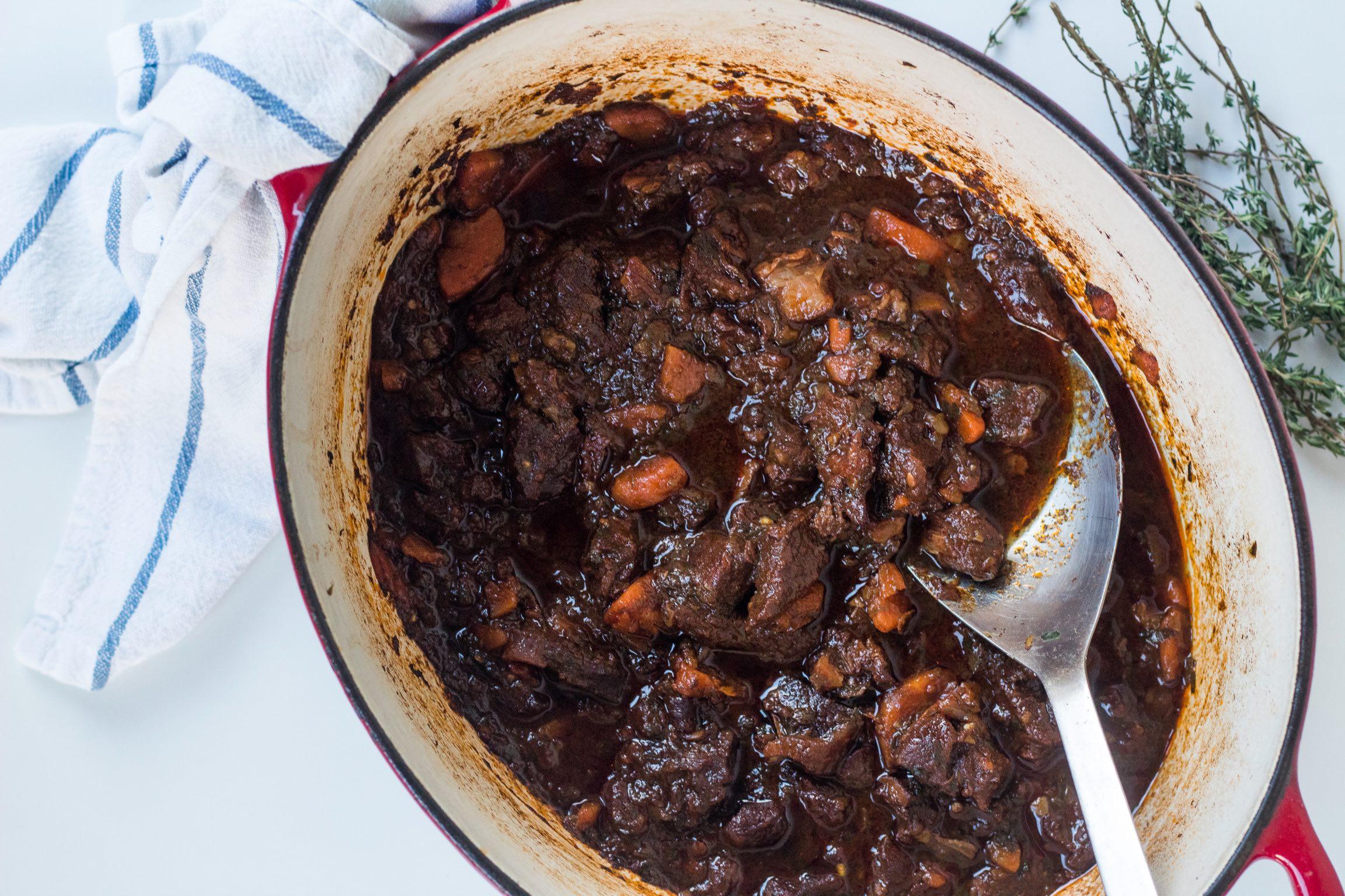Stewed beef and sweet potato mash