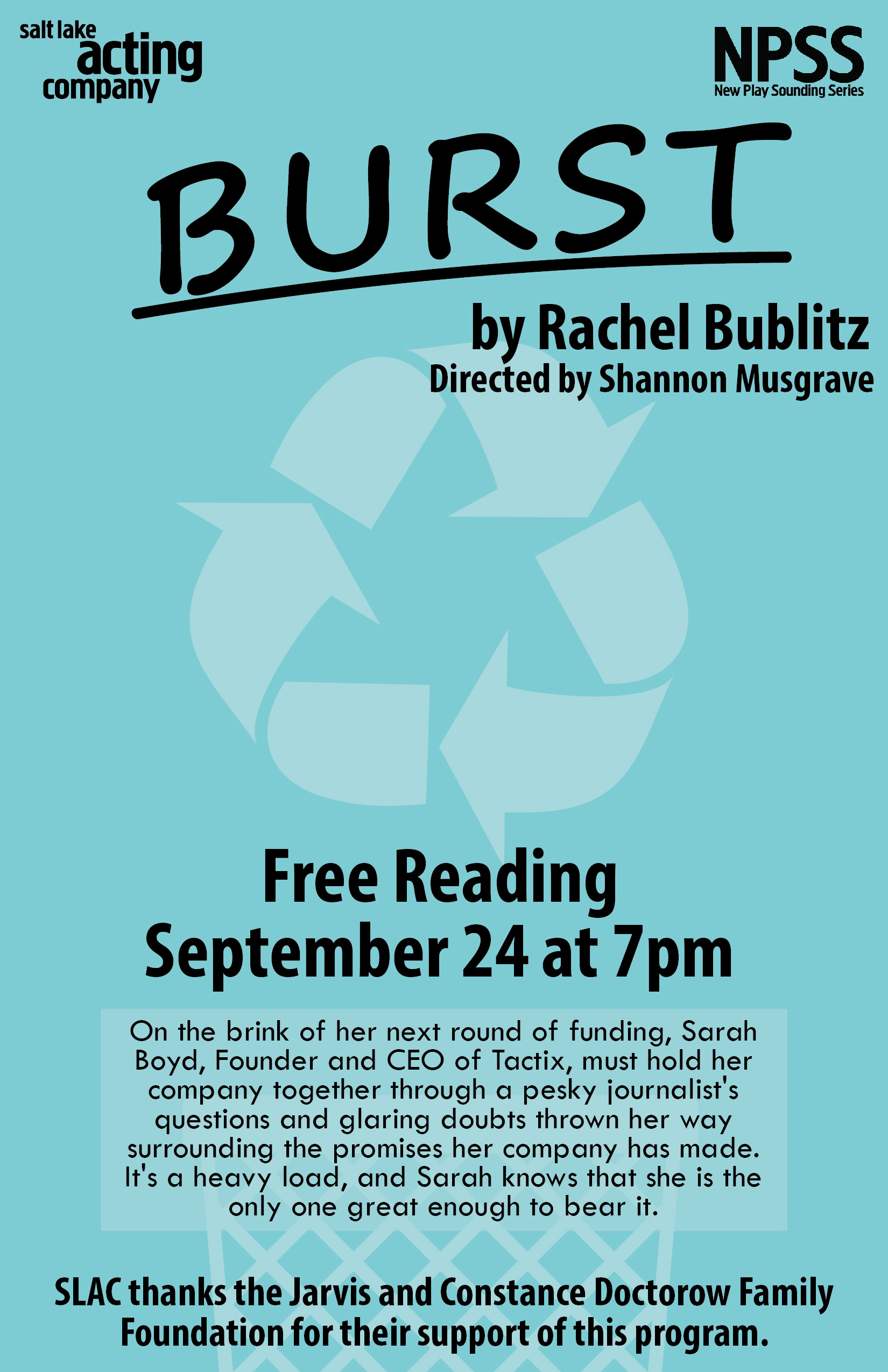 Poster for the BURST reading at Salt Lake Acting Company.