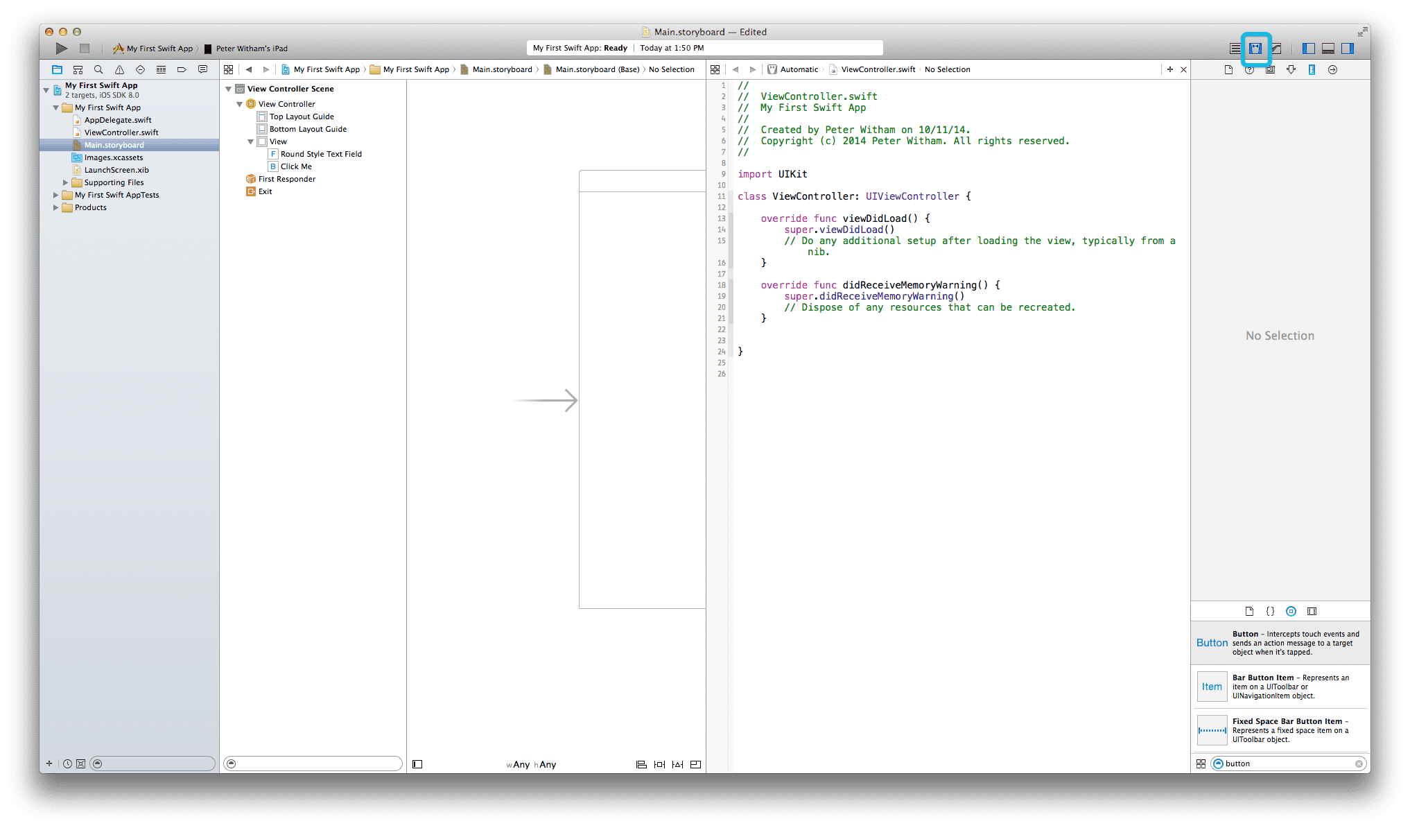 Xcode 6 -Storyboard with Assistant Editor