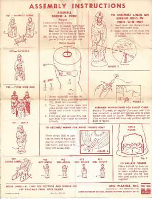 MSL Plastics Nativity Scene #931, Shepherd #932, Three Wise Men #933, Santa #975, Sleigh Santa #988 & 4 others Instruction Manual preview