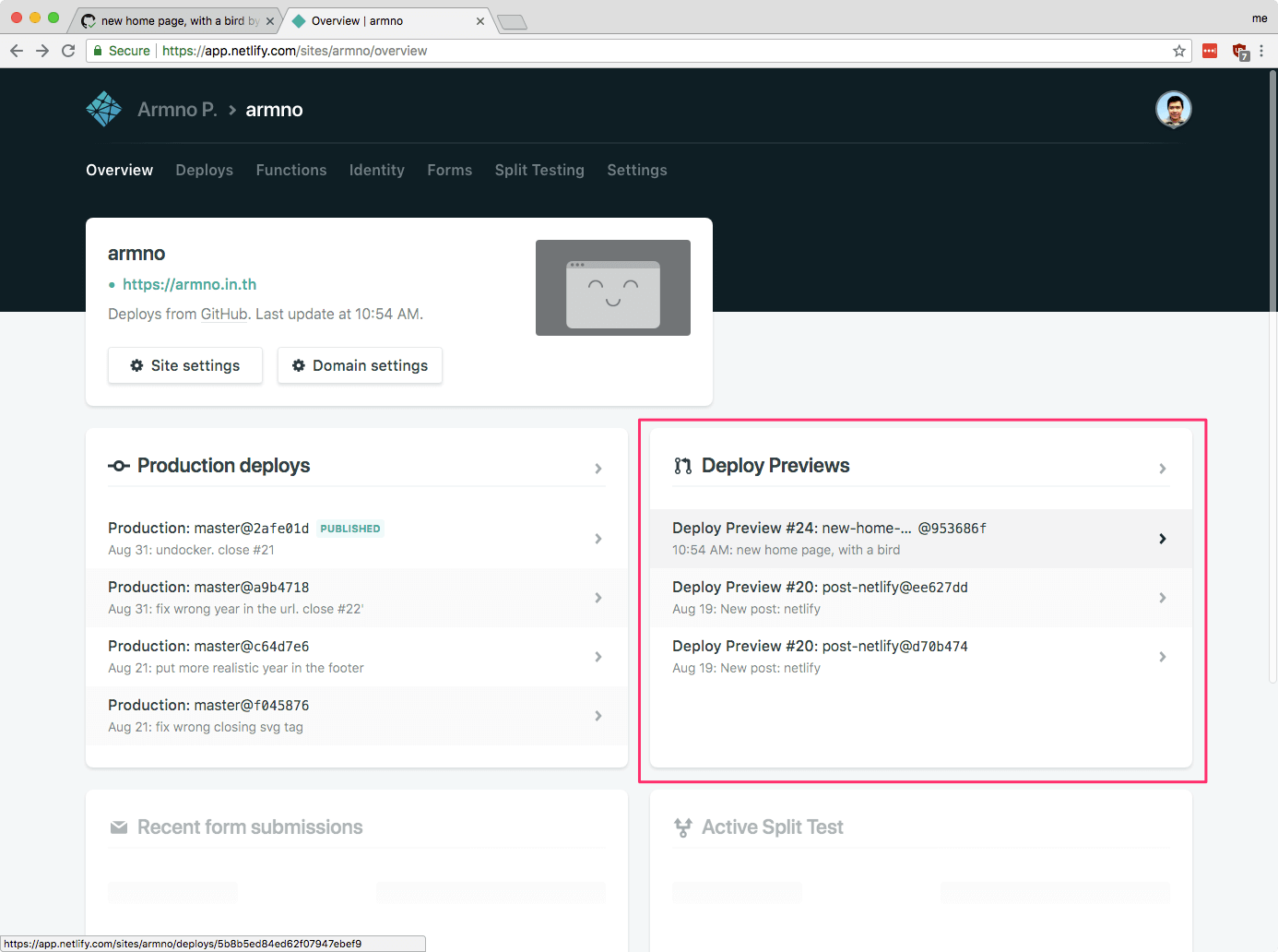 deploy previews บน dashboard ของ Netlify