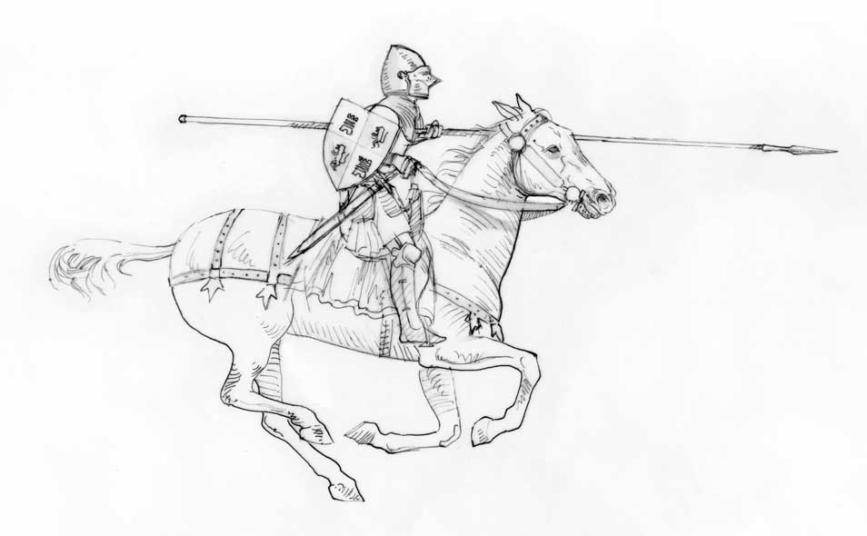 Praxinoscope illustration - Castilian knight - line drawing, sketch on paper