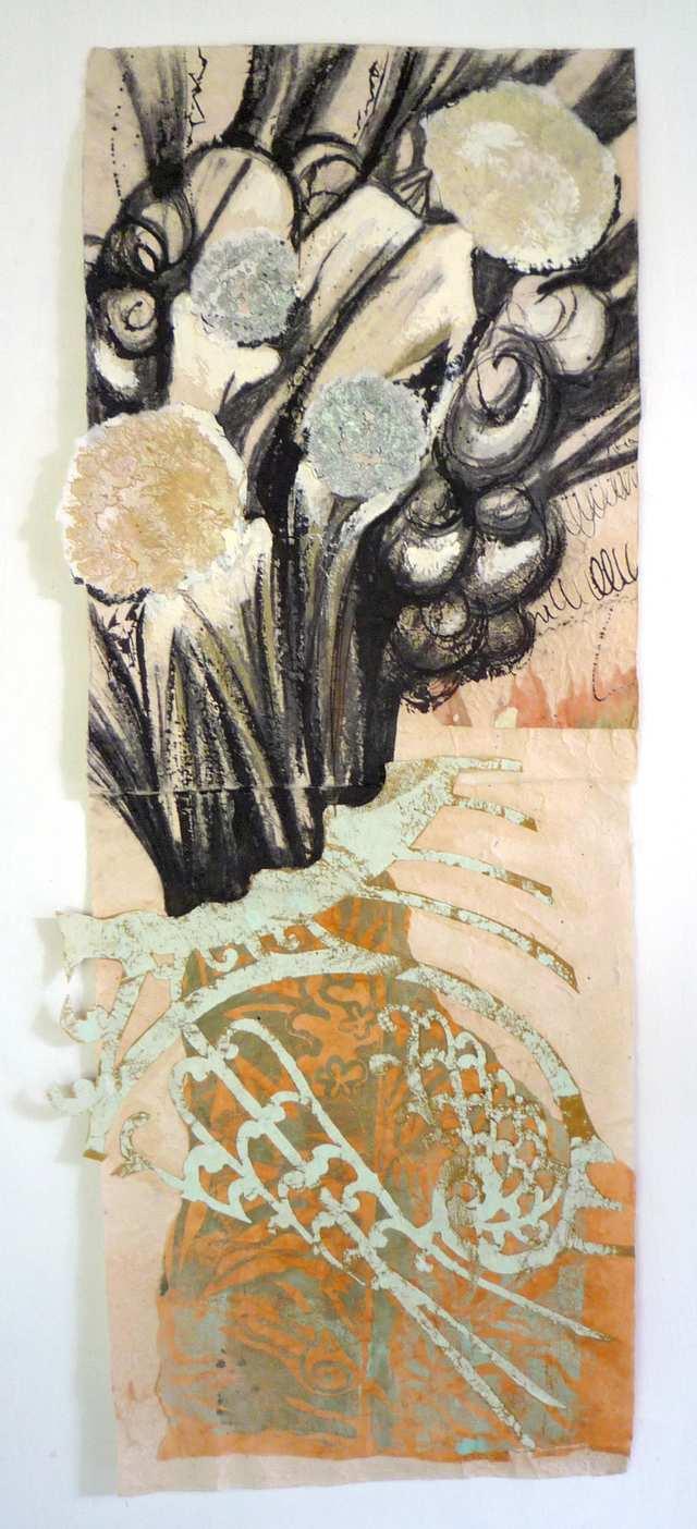 Wake, woodblock acrylic charcoal on paper