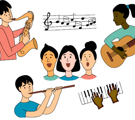 Illustration of kids playing musical instruments and singing