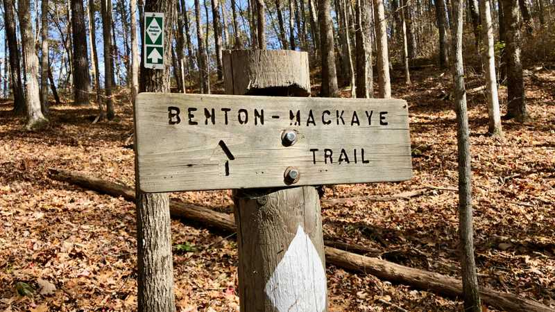 A sign on the Benton MacKaye Trail