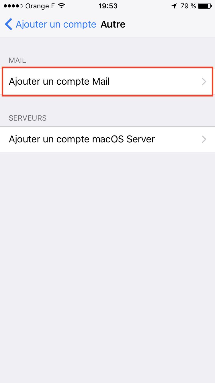 Etape 5 : Ajouter un compte mail sur iPhone