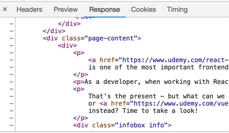 A server responds with HTML code if a website is requested.