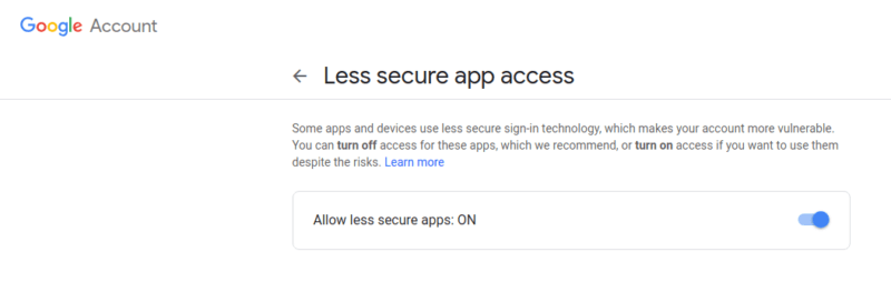 Turn On Less Secure Apps