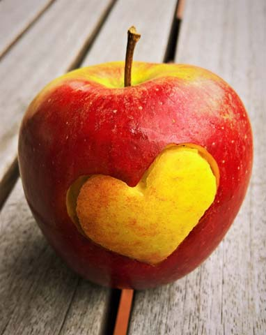 Heart on apple