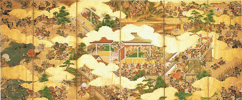 Zeichnung einer Schlacht im Genpei-Krieg