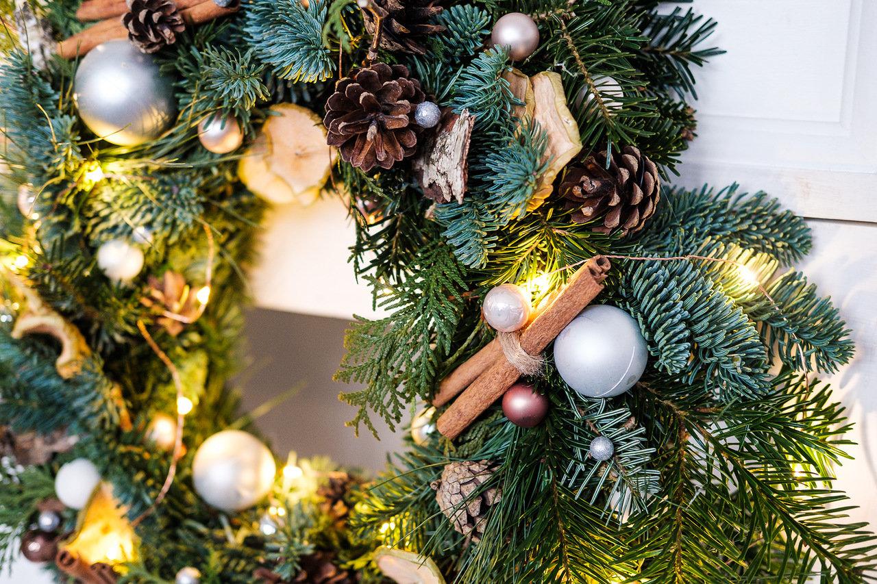 рождественский венок, новогодний венок, Роза Азора