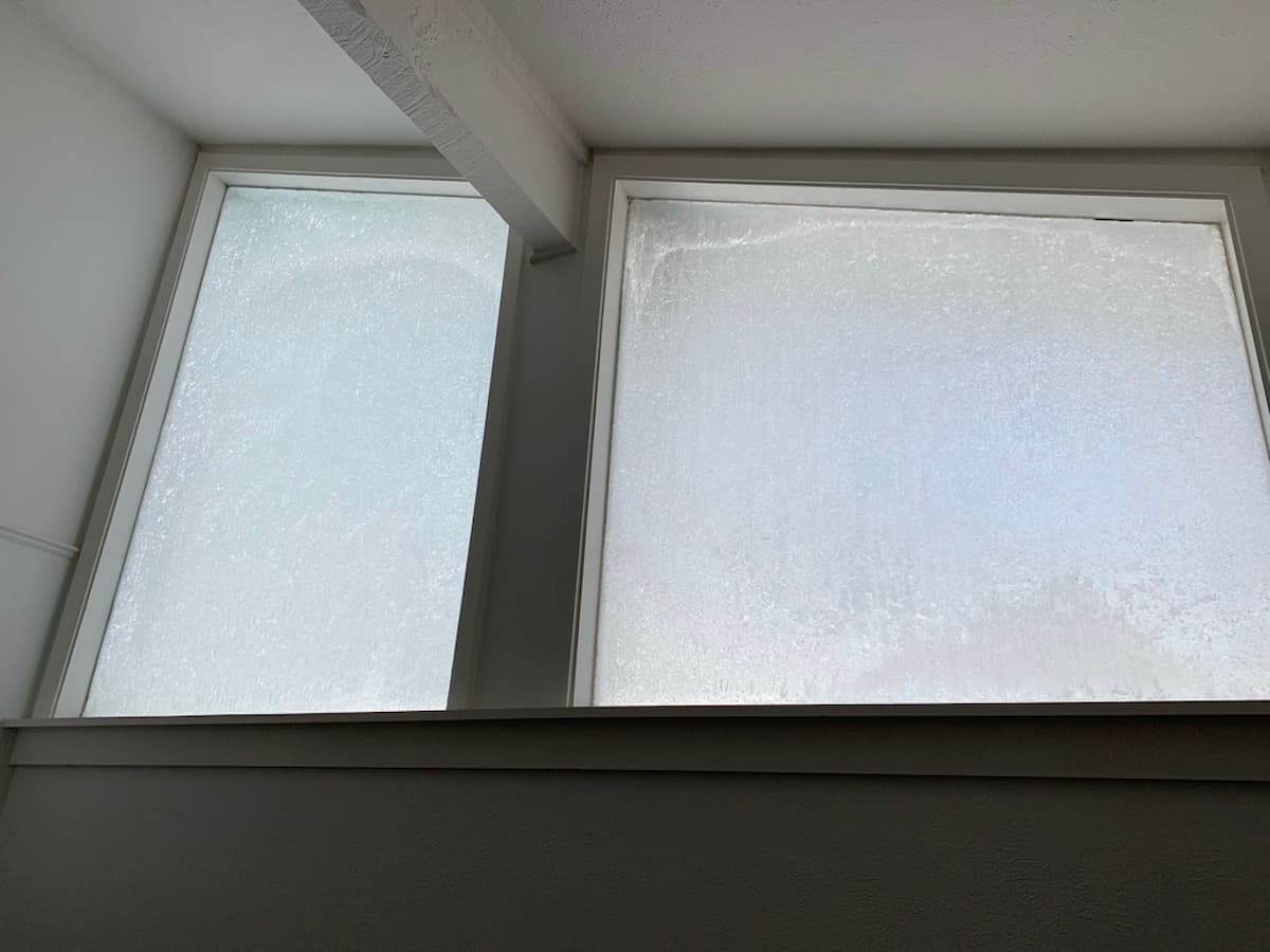 Frosted glass windows on the inside