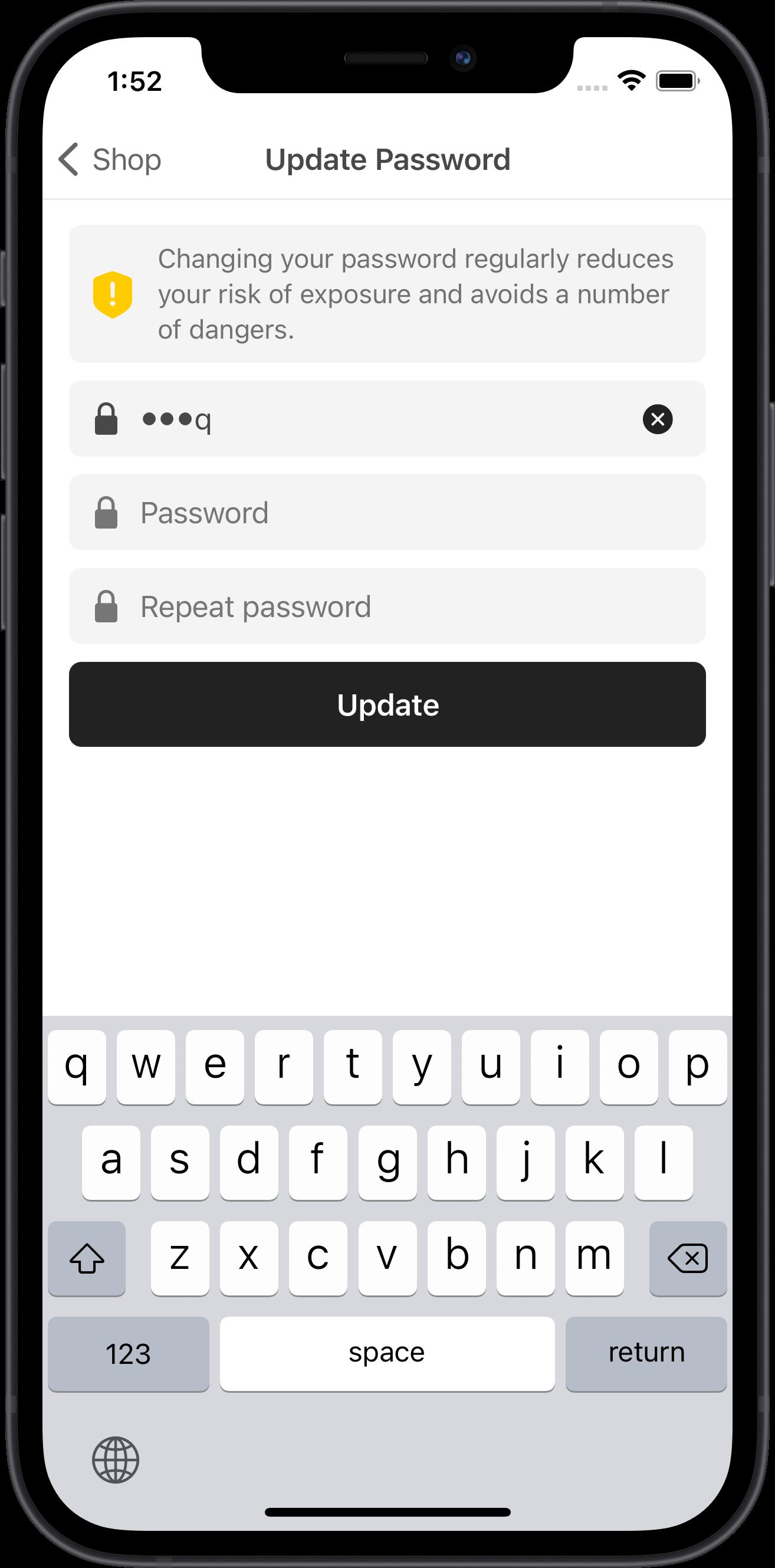 e-commerce, update user profile