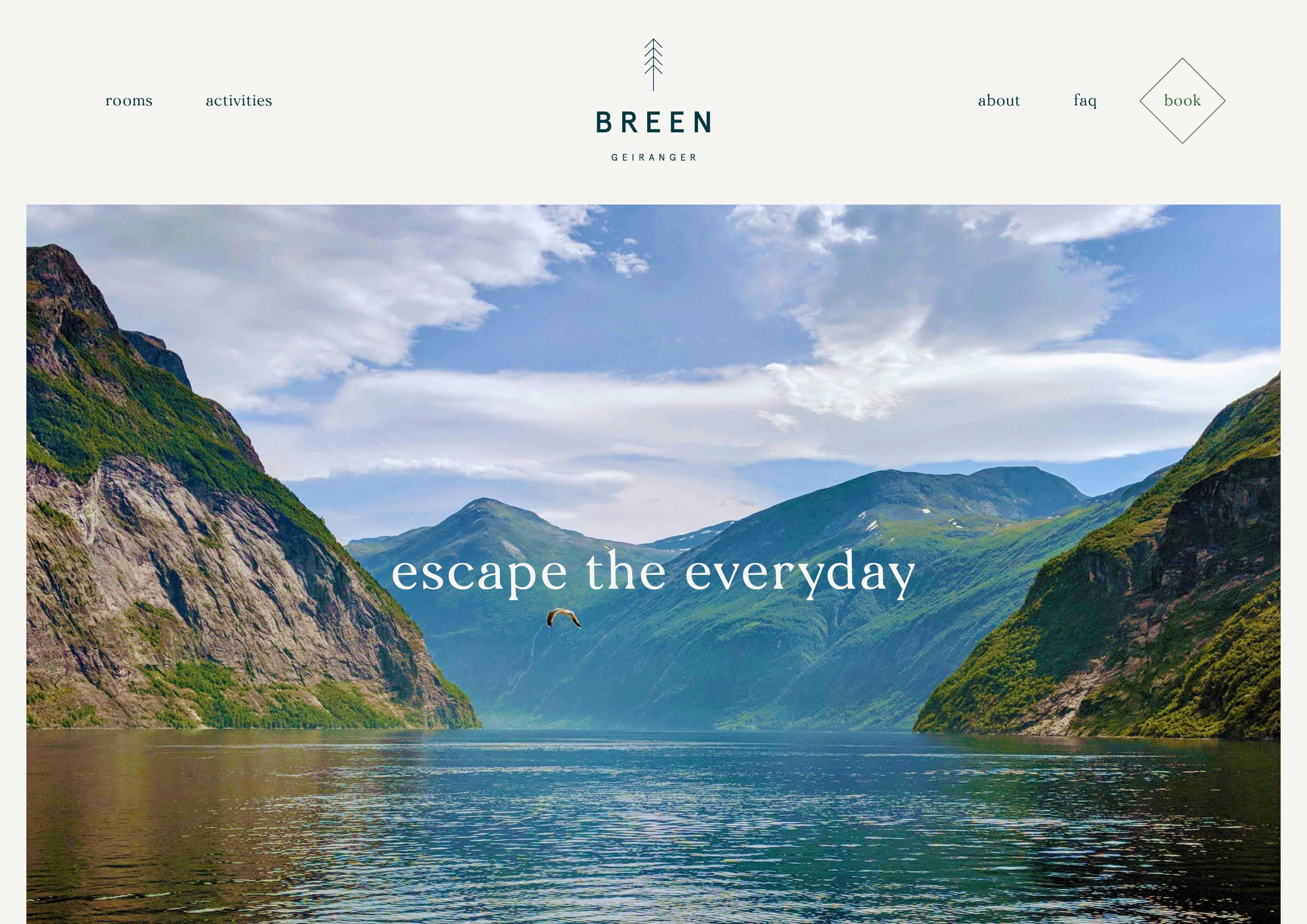 Website design by Jack Watkins, for Geirangerfjord hotel, BREEN