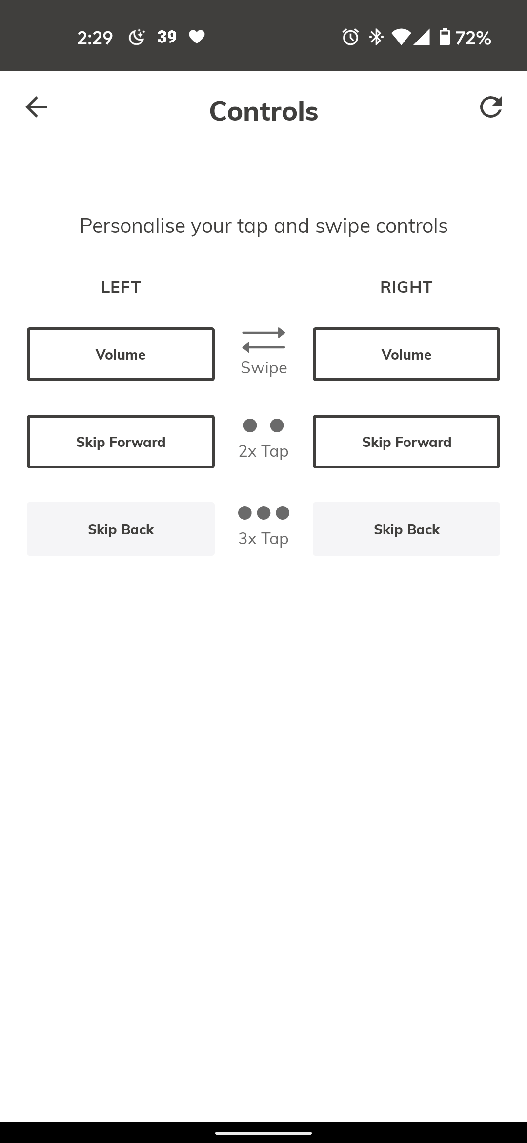 Customize touch controls
