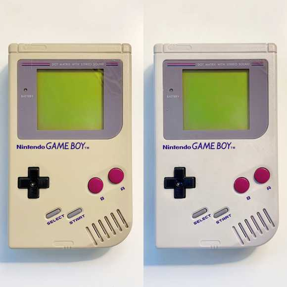 Game Boy retr0bright before and after
