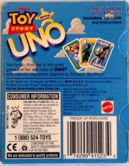 Back of Box for Official Toy Story Uno