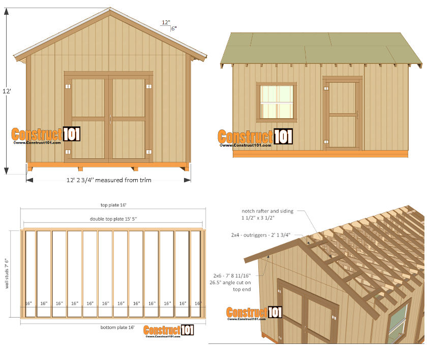 A 12x16' backyard shed plan from Construct101 which has a gable roof and detailed looks at the timber walls and roof construction.