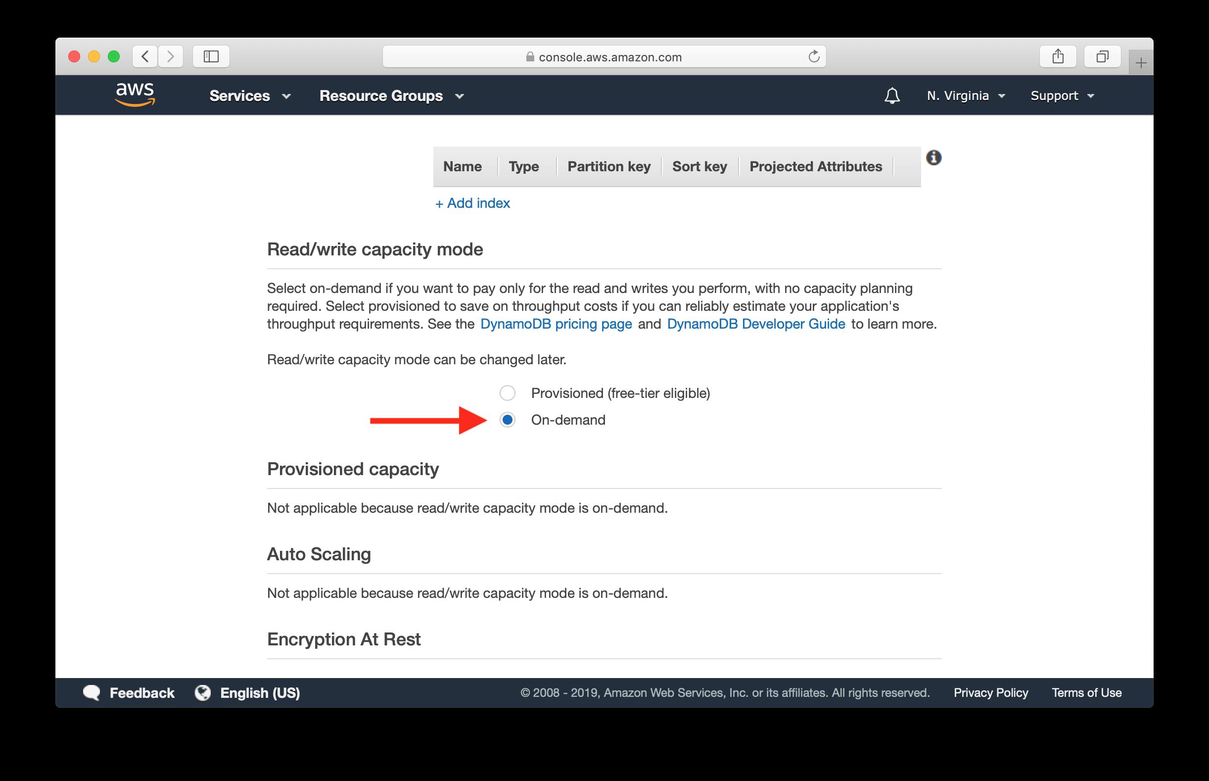 Select On-Demand Capacity screenshot