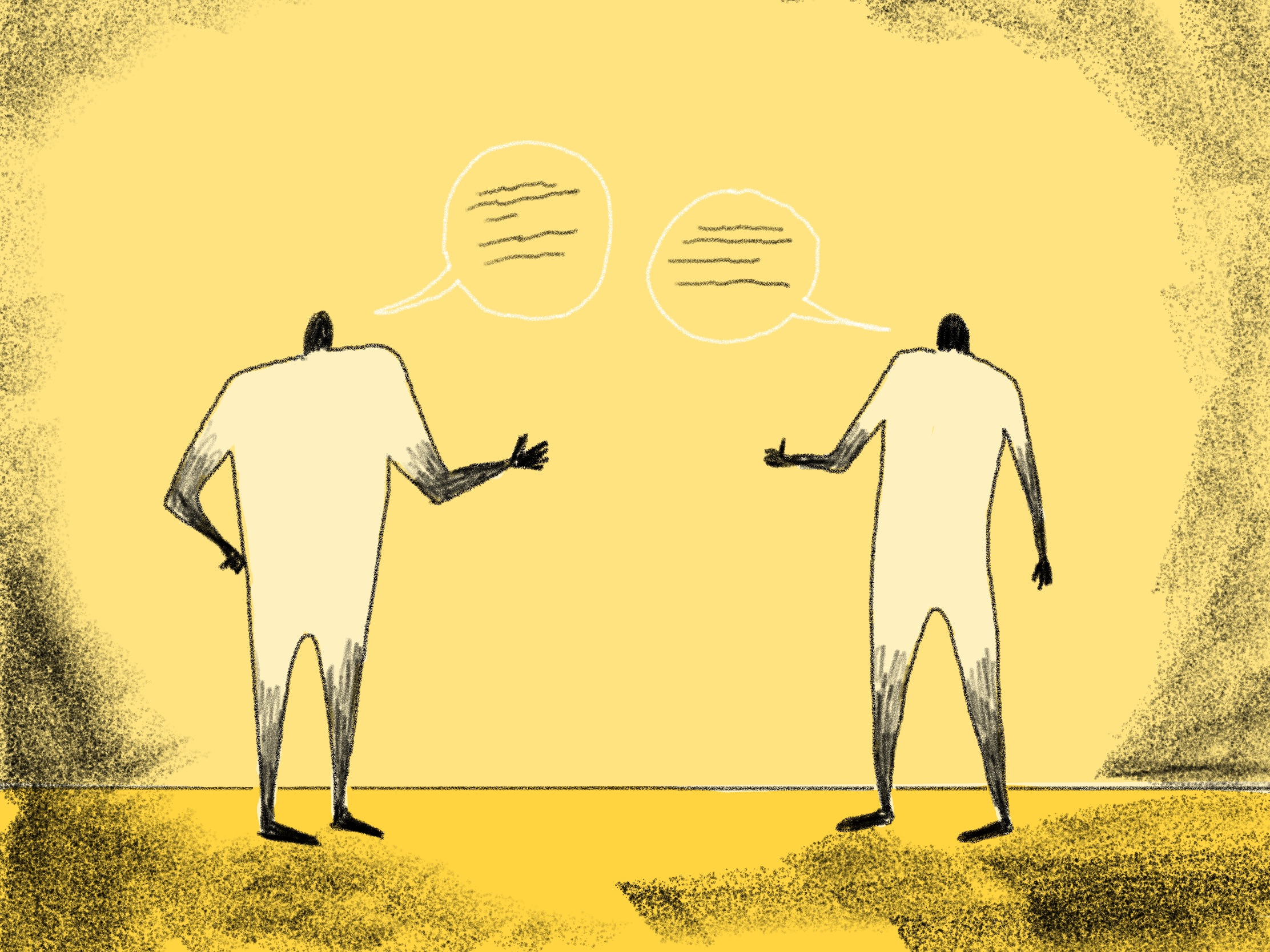 illustration of two friendly people talking