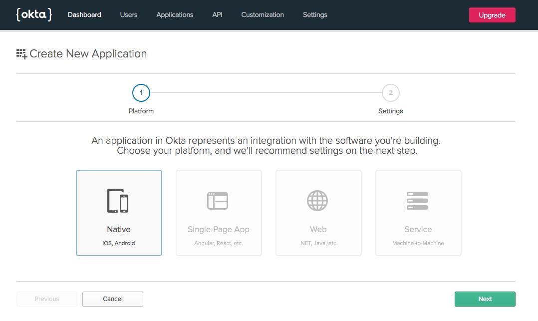 Create a new Okta app