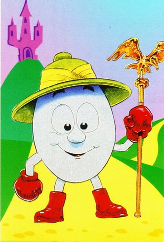 A hand drawn publicity image of Dizzy, an anthropomorphised egg explorer, wearing the trademark red boots and gloves, and a pith-style helmet