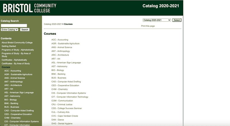 Bristol's old course catalog site