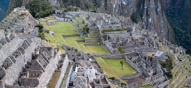 View over Machu Picchu with Huay
